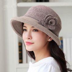 373d141634b Fashion flower bucket hat crimping design wool blend fleece winter hats