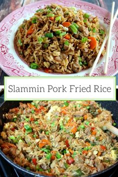 Fried Rice Super easy pork fried rice ready in just 45 minutes - perfect for an easy weeknight meal!Super easy pork fried rice ready in just 45 minutes - perfect for an easy weeknight meal! Pork Casserole Recipes, Rice Recipes, Pork Recipes, Asian Recipes, Cooking Recipes, Ethnic Recipes, Chinese Recipes, Yummy Recipes, Pork Fried Rice Easy