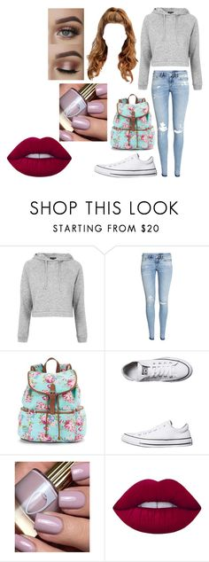 """""""Untitled #2459"""" by hey-mate on Polyvore featuring Topshop, H&M, Candie's, Converse and Lime Crime"""