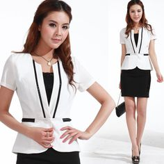 White Women suits with Black dress 2013 Summer work wear career dress set women's formal ol women's career colthing-inSkirt Suits from Appar...