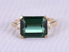 3.85ct Green Tourmaline Engagement ring,Emerald Cut stone,14k Rose gold,VS diamond Wedding Band,Bezel Set