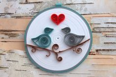 Love Birds Ornament Quilled Paper Round Coil by WillawayDesigns