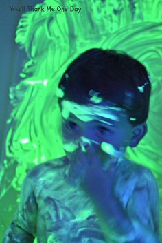 You'll Thank Me One Day: Glow in the Dark Bath Paint  This looks kind of crazy, but really fun!
