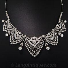 Belle Èpoque Platinum and Diamond Necklace