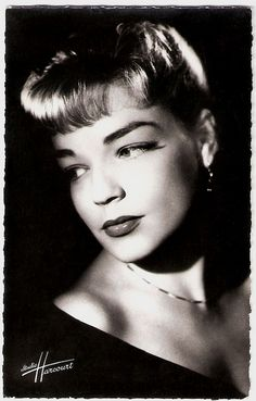 """""""French actress Simone Signoret (1921-1985) was given the 'star build-up' in the postwar years, and in the following decades she developed into one of the grand legends of the French cinema. Signoret won three times a BAFTA Award, an Oscar, an Emmy, a Silver Bear at the Berlin Festival, a Golden Palm at the Cannes Festival, and many, many more awards."""" #vintage #French #actress #movies"""