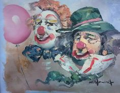 William Moninet. Two Clowns.  Signed. Oil on canvas painting.    Not currently for sale.