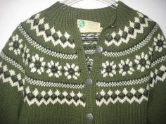 this is a gorgeous vintage norwegian sweater in a olive green and white pattern,,metal buttons,label says haus gorgeous condition bust is and length is Norwegian Knitting, Fair Isle Knitting, Nordic Style, Metal Buttons, Vintage Sweaters, Knitting Stitches, White Patterns, Vests, Sweater Cardigan