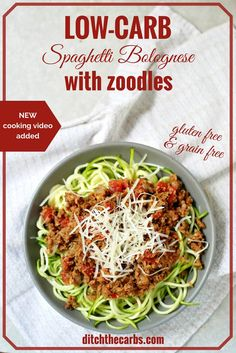 Family favourite low-carb spaghetti Bolognese with zoodles. UDPATE - now with a quick cooking video. Heathy family dinner that's low carb, gluten free, wheat free that is incredibly fresh and nutritious. | ditchthecarbs.com
