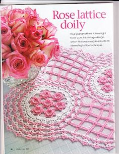 Pink and white with diagram Crochet Doily Rug, Crochet Tablecloth, Diy Crochet, Crochet Hats, Doily Patterns, Crochet Patterns, Lace Doilies, Sewing Tutorials, Vintage Designs
