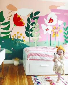 Amazing floral mural and super cute kiddo!