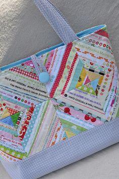 Selvage quilt blocks makes a cute bag