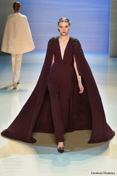 La capa es muy dramática - Georges Hobeika couture fall 2014/2015 look 16 maroon cape