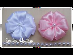 Make Cute Chiffon Rose Bud! Tutorial How to Make Ribbon Rose, DIY, Help: The beginning of the rose bud start from: - make triangle and sew to secure the center of the rose; Satin Ribbon Flowers, Ribbon Art, Fabric Ribbon, Ribbon Crafts, Ribbon Jewelry, Making Hair Bows, Diy Hair Bows, Diy Bow, Making Fabric Flowers