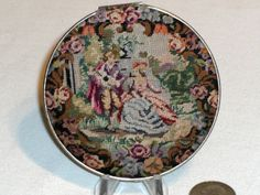 Antique Bliss Brothers Figural Scenic Petit Point Vanity Compact
