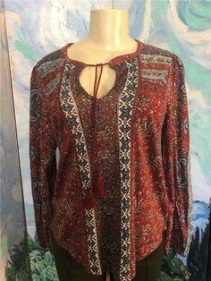 Lucky Brand Women/'s New Printed Pattern Fringe Hem Pullover Sweater Top M $129