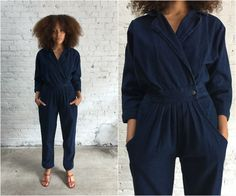 1980s denim jumpsuit / deep denim one piece / dark denim 80s jumpsuit by dustyrosevintage on Etsy