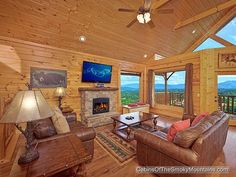 We like a little sky in our living room! 1-bedroom cabin in Pigeon Forge called Soaring High.
