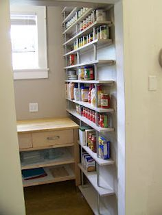 The Life of CK and Nate: Inexpensive, Simple, DIY Pantry Shelves - a ton of storage in a tiny space for just $180!