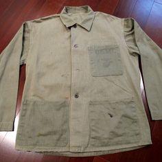 Vtg Original WW2 US Marine USMC 1941 Utility Jacket Herringbone Donut Button | eBay