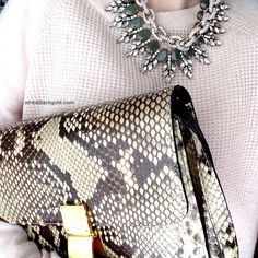 Casual Saturday. Celine Python box bag, Theory cashmere sweater.