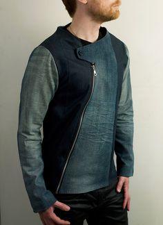 Mens Futuristic Asymmetrical Denim jacket by PopLoveHis on Etsy https://www.etsy.com/listing/178324336/mens-futuristic-asymmetrical-denim