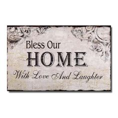 Adeco (SP0105)Decorative Wood Wall Hanging Sign Plaque 'Bless Our Home with Love and Laughter' Off White Black Home Decor *** You can find out more details at the link of the image. (This is an affiliate link) #Plaques