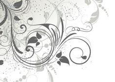 grey floral swirls vector