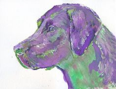 Labrador Print from Original Artist Signed labrador Dog Art Purple and Green lab dog - unique gift idea by OjsDogPaintings #dogs #etsy #art