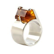 Silver & Citrine Black Modern Ring