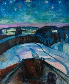 Edvard Munch - Starry night, 1922/24, The Munch Museum  On 10th August it's Saint Lawrence here in Italy and this day is also known as the Night of the Shooting Stars.  Looking at the sky (if it's not cloudy!) it's possible to see falling  stars. An old tradition says that every time we see a falling star, we can express a desire and it will come true.