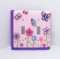 Butterflies and Flowers Pink lavender purple by Thimbletowne, $25.00