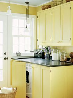yellow laundry room.