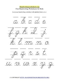 Lowercase Cursive Letters A-Z Handwriting Worksheet in Printable Format for Kindergarten Kids. 1 Worksheet with 26 Lowercase Cursive Alphabets. Free Cursive Handwriting Worksheets with Letters A-Z ( Small Lowercase ) Cursive Alphabet Printable, Alphabet Cursif, Printable Handwriting Worksheets, Cursive Writing Worksheets, Alphabet Tracing Worksheets, Super Worksheets, English Alphabet, Cursive Small Letters, Scripts