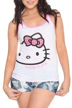 HOT TOPIC: Hello Kitty Polka Dot Bow Lounge Tank Top $19.50