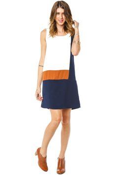 Franko Shift Dress / ShopSosie #Beige #White #Navy #Colorblock #Shift #Dress #shopsosie