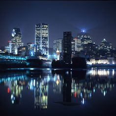 Beautiful skyline against the night sky Montreal, Quebec Canada Places Around The World, Oh The Places You'll Go, Great Places, Places To Travel, Beautiful Places, Places To Visit, Around The Worlds, Travel Destinations, Ottawa