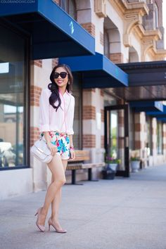 Daytime Floral :: Contrast Blouse & Bright Shorts