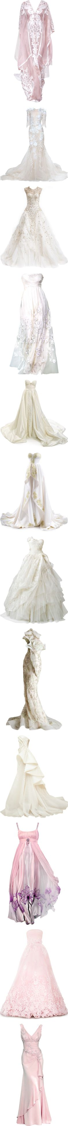 WEDDING by satinee on Polyvore featuring women's fashion, dresses, gowns, doll clothes, long dress, vestidos, pink dress, bridal gowns, bridal ball gowns and long dresses