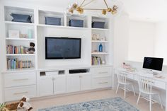 Hanging with the Hewitts: Media/Playroom Reveal. Love the built in homework desk… Hanging with the Hewitts: Media/Playroom Reveal. Love the built in homework desk! Living Room Playroom, Loft Playroom, Small Playroom, Modern Playroom, Diy Living Room Decor, Home Decor, Kids Playroom Storage, Playroom Layout, Playroom Design