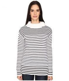 ATM Anthony Thomas Melillo Roll Neck Cozy Sweater (White/Black Stripe) Women's Sweater