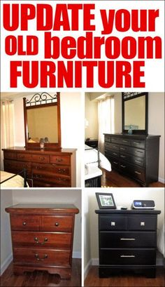 old furniture update your old bedroom furniture--I love this transformation! Definitely need to do this to our old furniture! Furniture Update, Refurbished Furniture, Repurposed Furniture, Furniture Projects, Furniture Making, Home Projects, Painted Furniture, Furniture Stores, Cheap Furniture