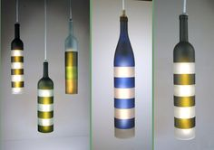 Bottles turn into enticing lamps with khrysalis light sculpture