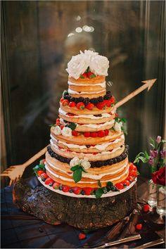 rustic naked wedding cake with fruit