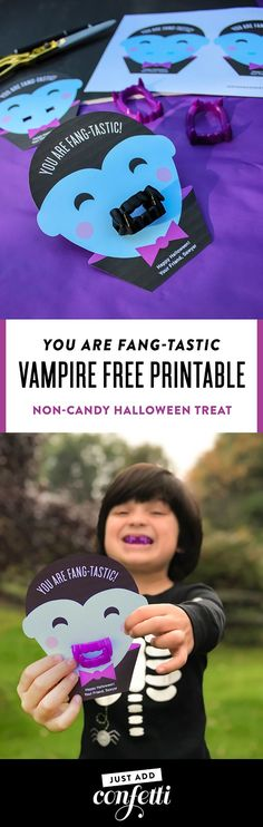 """You are Fang-tastic"" vampire free printable from Just Add Confetti. Non-candy treat for Halloween. Perfect for school classroom treats! #halloween #kidshalloween #JustAddConfetti #freeprintable #vampire #Fangs"