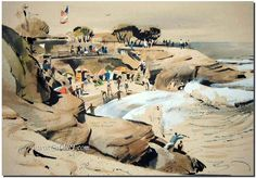 California art - California style watercolor art and American impressionist art.
