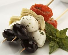 Mini Mediterranean Antipasto Ingredients: Fire Roasted Tomatoes Kalamata Olives Mozzarella Marinated Artichoke Heart