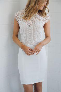 rosella lace dress - ivory