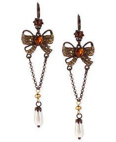Betsey Johnson Earrings, Brown-Tone Glass Crystal Bow Drop Earrings