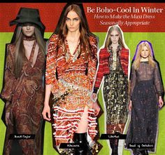 Boho maxi dress fashion for fall and winter. ~ trish