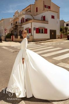Tesoro 2020 Spring Bridal Collection – The FashionBrides Gowns With Sleeves, Bridal Collection, One Shoulder Wedding Dress, Wedding Gowns, Formal Dresses, Clothes, Spring, Design, Trains